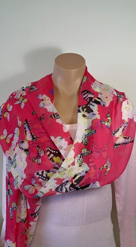 Long Butterfly Print Chiffon Scarf (Dark Pink, Light Pink)