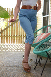 Allison Stretch Bengaline Capris Chambray