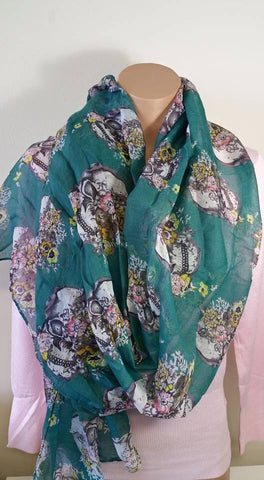 Long Skull & Roses Print Voile Scarf (Turquoise, Olive & Orange)