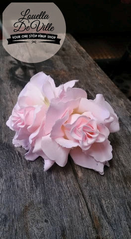 Louella DeVille Handmade Double Roses Soft Pink