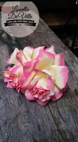 Louella DeVille Handmade Double Roses Pinky Yellow