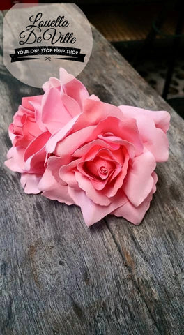 Louella DeVille Handmade Double Roses Coral Pink