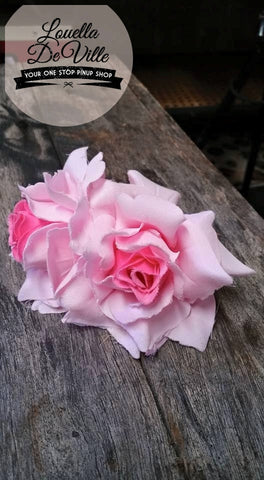 Louella DeVille Handmade Double Roses Pink