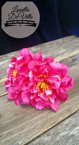 Louella DeVille Handmade Double Peonies Hot Pink