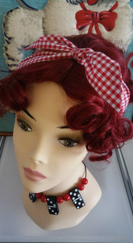 Handmade Bandana Head Wrap Red Gingham