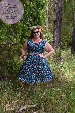 Timeless Navy Jungle Bar Summer Swing Dress