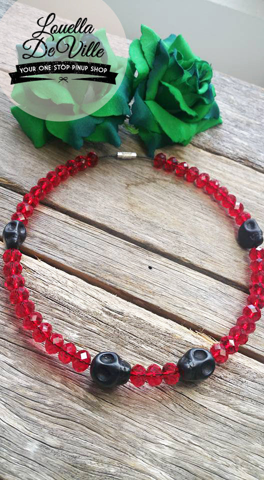 Louella DeVille Handmade Faceted Ruby Skull Choker Necklace