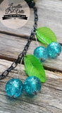 Louella DeVille Handmade Teal Teaser Glitter Cherries Necklace