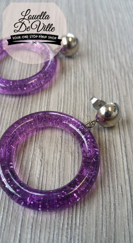 Louella DeVille Glitter Confetti Resin Hoops Purple