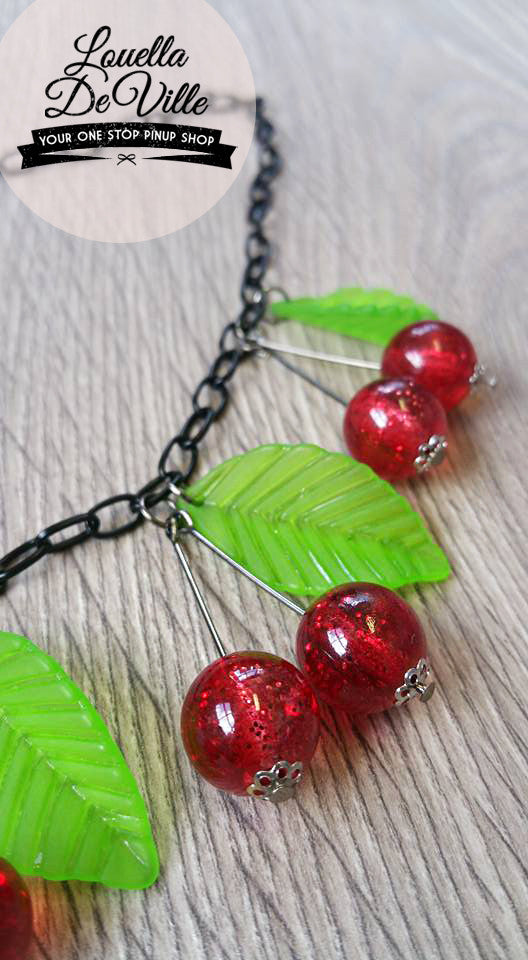 Louella DeVille Handmade Glitter Lucite Red Cherries Necklace