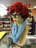 Soft Knitted Infinity Scarf Light Blue