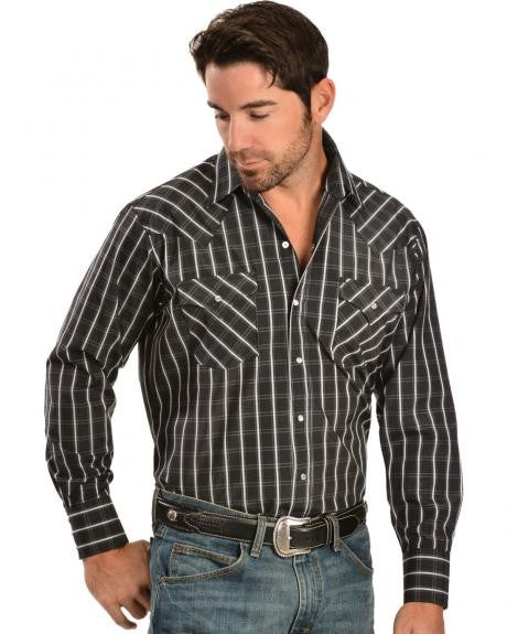 Mens Ely Cattleman Black Plaid Lurex Western Shirt