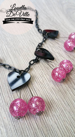 Louella DeVille Handmade Cherry Hearts Necklace