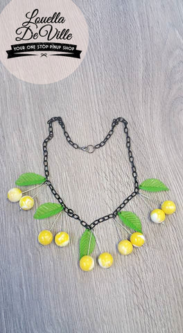 Louella DeVille Handmade Summer Lemon Cherries Necklace