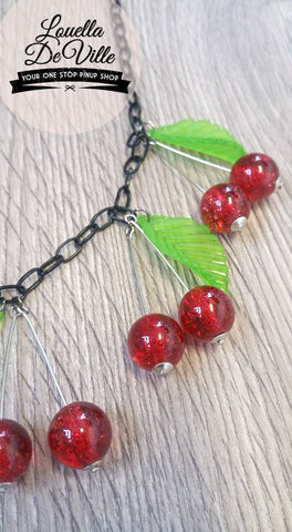 Louella DeVille Handmade Summer Red Cherries Necklace