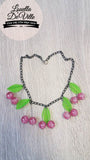 Louella DeVille Handmade Summer Pink Cherries Necklace