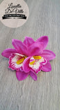 Louella DeVille Handmade Double Orchids Purple