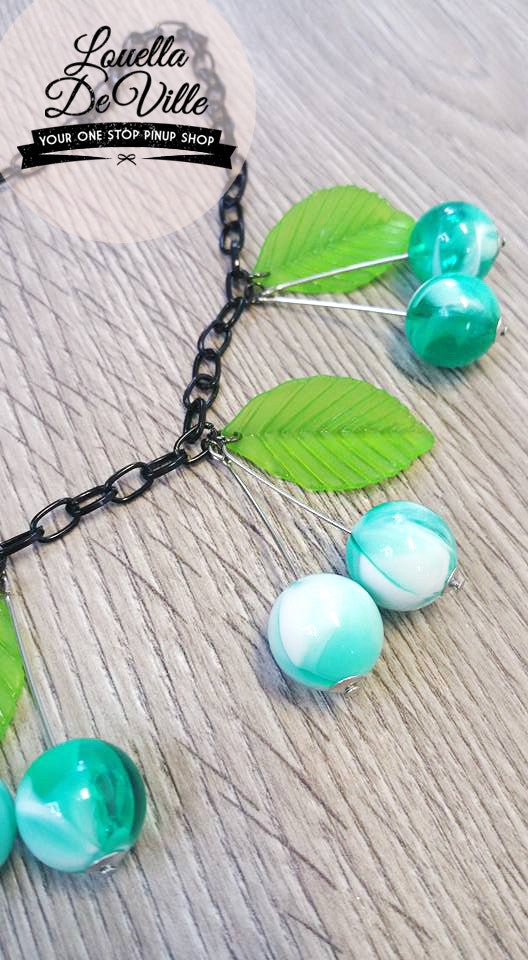 Louella DeVille Handmade Summer Mint Cherries Necklace