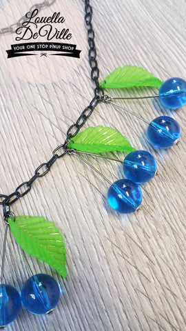 Louella DeVille Handmade Summer Blueberry Cherries Necklace