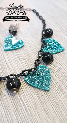 Louella DeVille Lucky In Love Necklace & Earring Set Teal Hearts