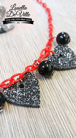 Louella DeVille Lucky In Love Necklace & Earring Set Black Hearts
