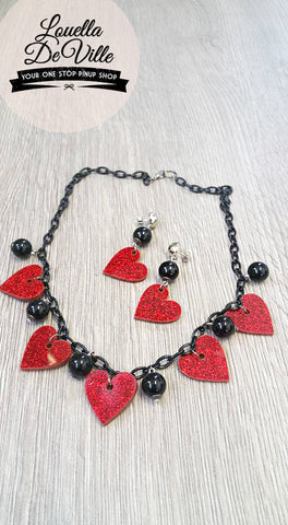 Louella DeVille Lucky In Love Necklace & Earring Set Red Hearts