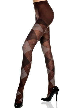 Music Legs 7013 Opaque Argyle Design Pantyhose