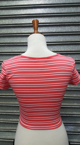 Basic Middy Top Peach/White Stripe