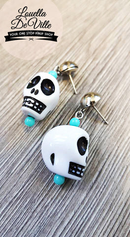 Louella DeVille Handmade Skull Drop Earrings (Various Colours)