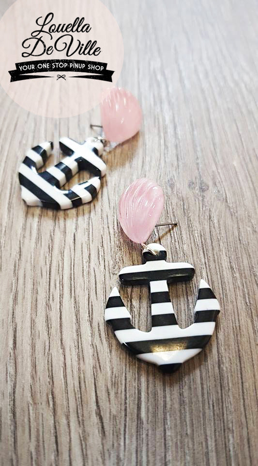 Louella DeVille Handmade Anchor Down Earrings (Various Colours!)