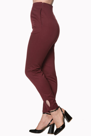 Banned Tempting Fate High Waist Trouser Burgundy