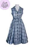 Louella DeVille Grey Red Tartan Plaid Draper Dress