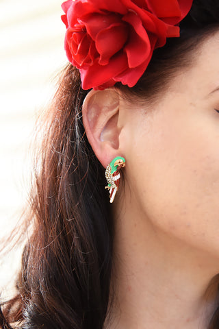 Enamel Parrot Tiki Luau Earrings