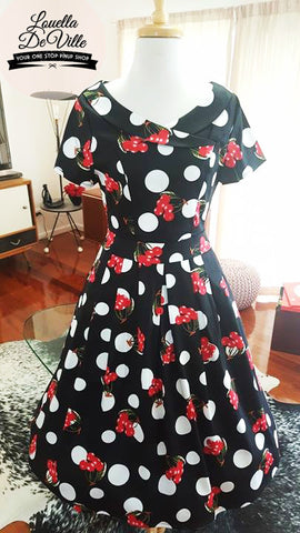 Timeless Black Cherry Dot Collar Swing Dress