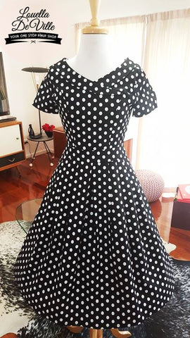 Timeless Black Polka Dot Collar Swing Dress
