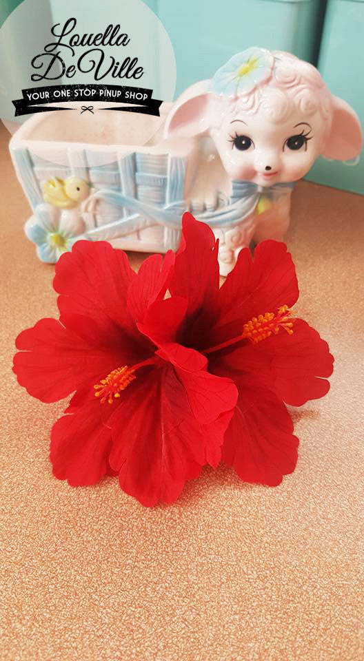 Louella DeVille Handmade Double Hibiscus Red