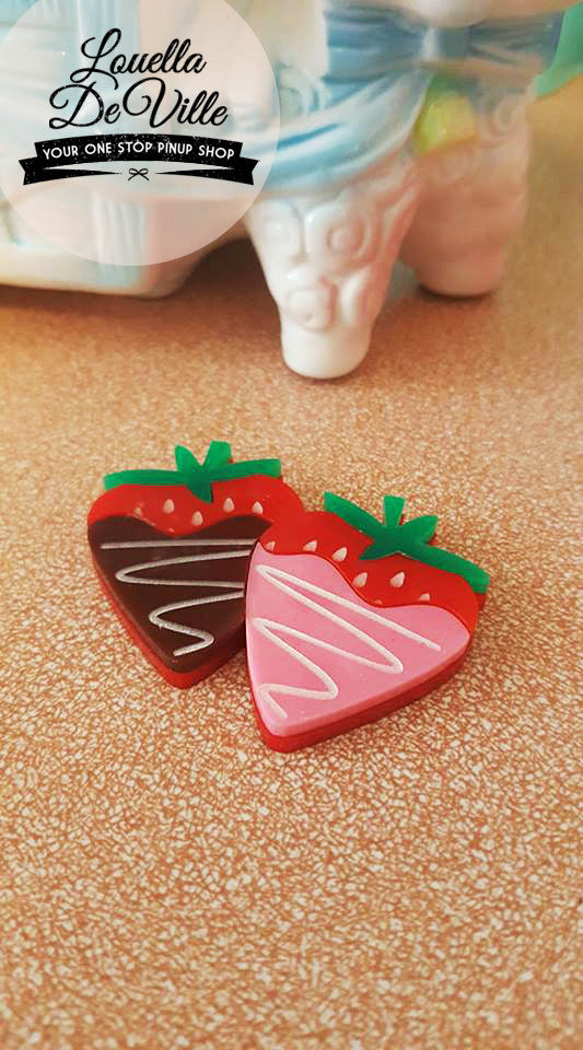 Louella DeVille Handmade Sweet Dip Strawberry Brooch