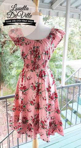 So Sweet Sara Peachy Rose Peasant Dress