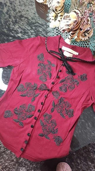 PRE LOVED! WDB Wheels & Dollbaby Dita Cardigan Rouge Noir