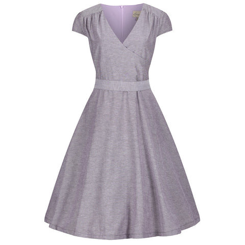 Lindy Bop Purple Chambray Dawn Swing Dress