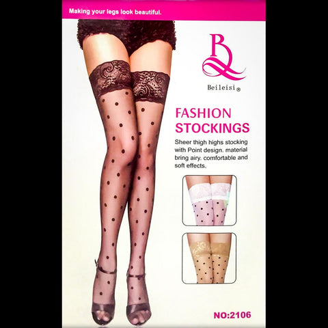 Music Legs 4101 Sheer Thigh Highs (Nude, Black)