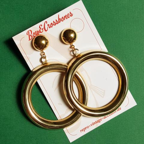 Bow & Crossbones Wanda XL Gold Hoop Earrings