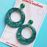 Bow & Crossbones Amelia Confetti Lucite Teal Hoop Earrings