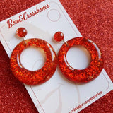 Bow & Crossbones Amelia Red Confetti Lucite Hoop Earrings