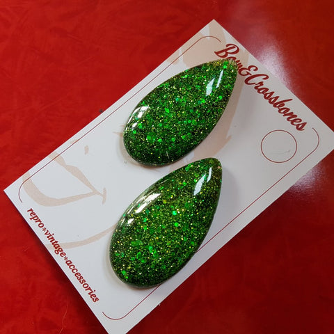 Bow & Crossbones Priscilla Teardrop Resin Earrings Green Sparkle