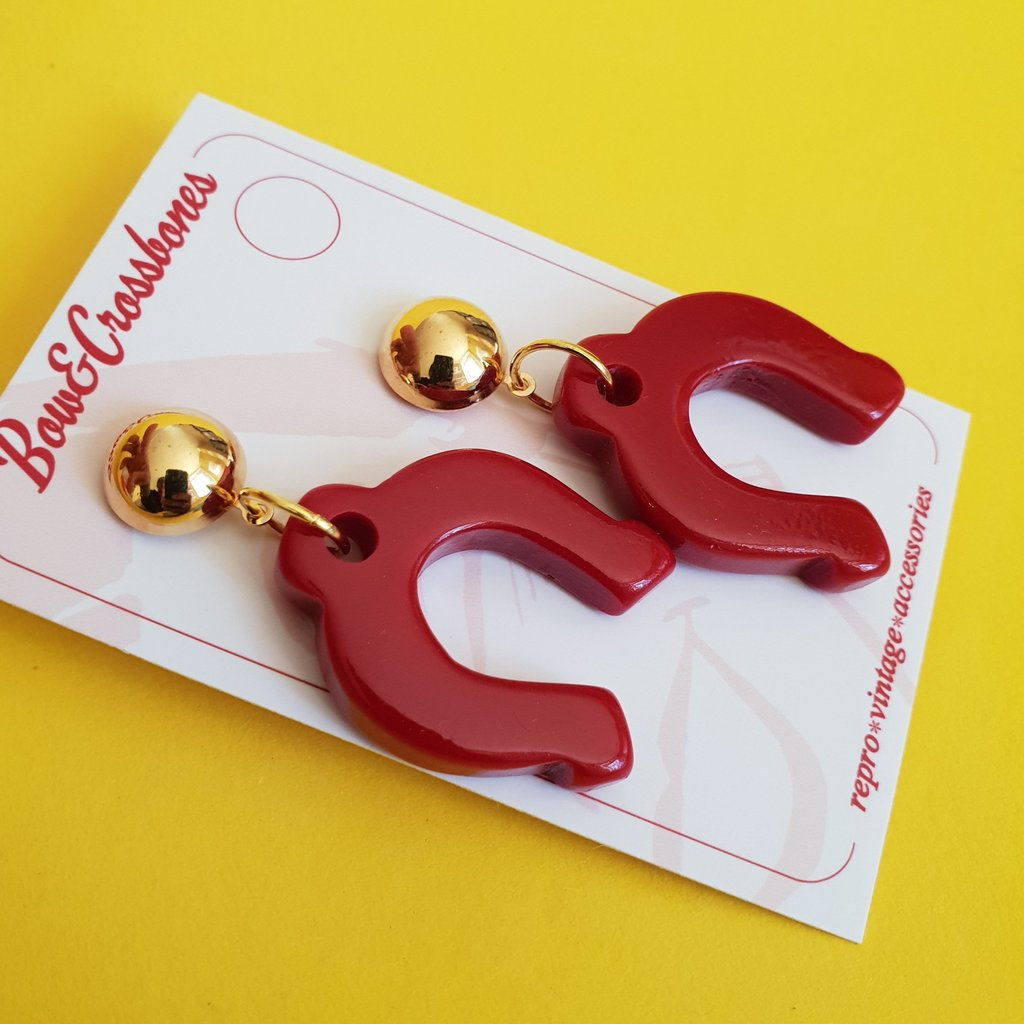 Bow & Crossbones Delilah Horseshoe Stud Earrings Red