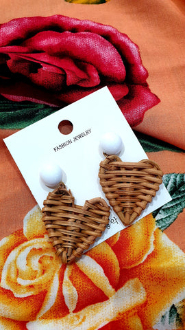 Sunshine Rattan Heart Stud Earrings