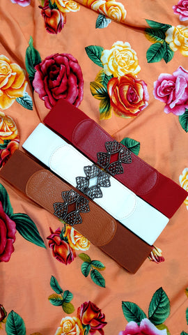 Twin Bow Deco Elastic Belt (Various Colours!)