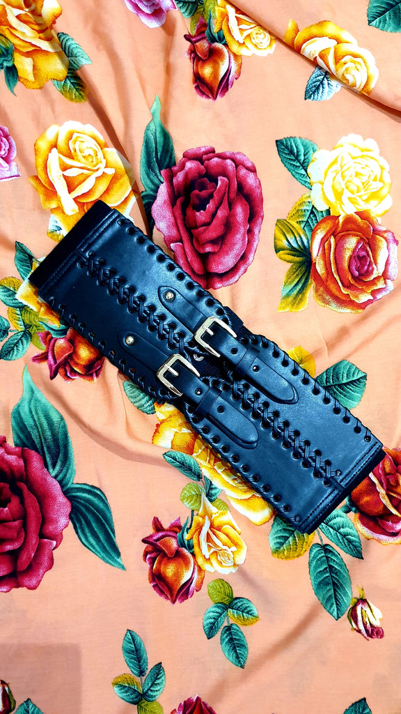 Felicia Wide Elastic Buckle Belt Black