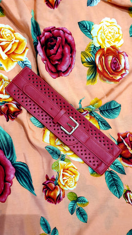 Felicia Wide Elastic Buckle Belt Red
